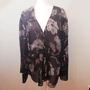 Lane Bryant black & cream floral sheer blouse